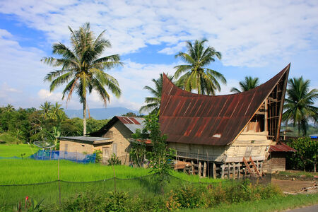 Traditional Batak house on Samosir island, Sumatra, Indonesia, Southeast Asia