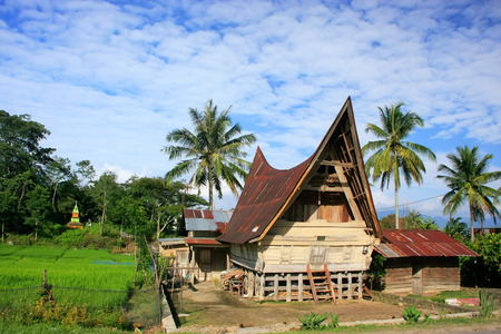 Traditional Batak house on Samosir island, Sumatra, Indonesia, Southeast Asia Editöryel