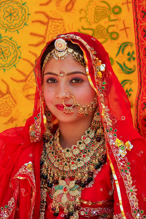 indian bride: Girl in traditional dress taking part in Desert Festival, Jaisalmer, Rajasthan, India Editorial