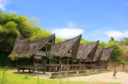 Traditional Batak houses on Samosir island, Sumatra, Indonesia, Southeast Asia