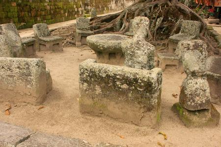 Stone chairs in Ambarita, Samosir island, Sumatra, Indonesia, Southeast Asia photo