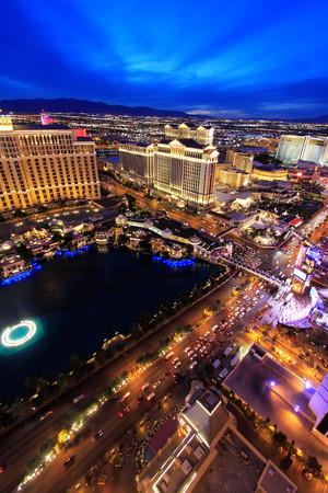 Aerial view of Bellagio and Caesars Palace hotel and casino with lights, Las Vegas, Nevada, USA