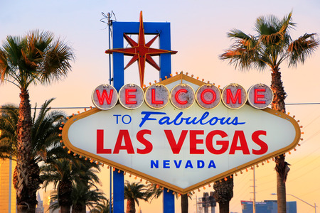 nevada: Welcome to Fabulous Las Vegas sign at night, Nevada, USA