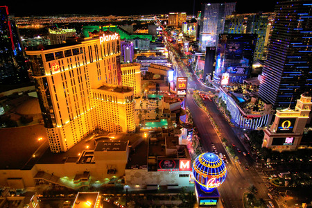 nevada: Aerial view of Las Vagas strip at night, Nevada, USA Editorial