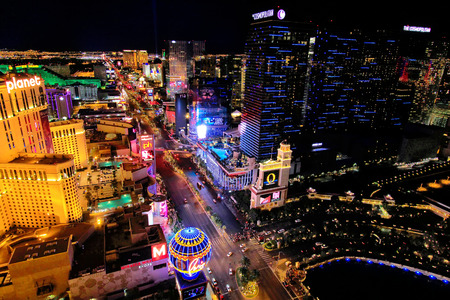 Aerial view of Las Vagas strip at night, Nevada, USA Editorial