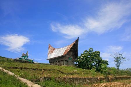 sumatra: Traditional Batak house on Samosir island, Sumatra, Indonesia, Southeast Asia Stock Photo