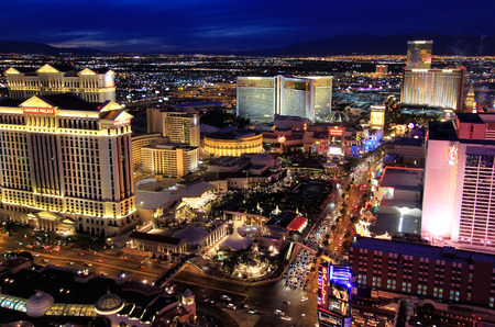 cosmopolitan: Aerial view of Las Vagas strip at night, Nevada, USA Editorial