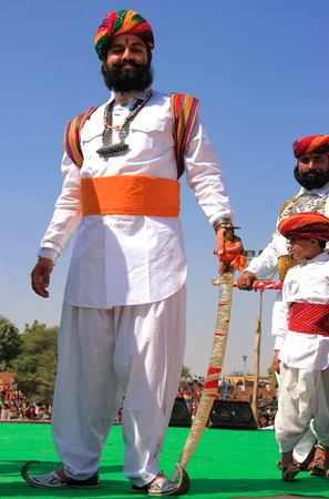 mr: Indian man in traditional dress taking part in Mr Desert competition, Jaisalmer, Rajasthan, India