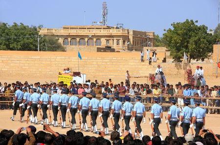 jaisalmer: Air force soldiers performing for public at Desert festival in Jaisalmer, Rajasthan, India Editorial