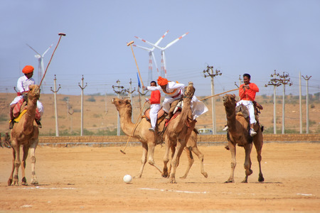local festivals: Camel polo match during Desert Festival, Jaisalmer, Rajasthan, India Editorial