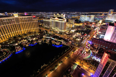 nevada: Aerial view of Bellagio and Caesars Palace hotel and casino with lights, Las Vegas, Nevada, USA