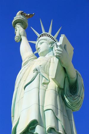 new york strip: Close up of Replica of Statue of Liberty, New York - New York hotel and casino, Las Vegas Nevada, USA