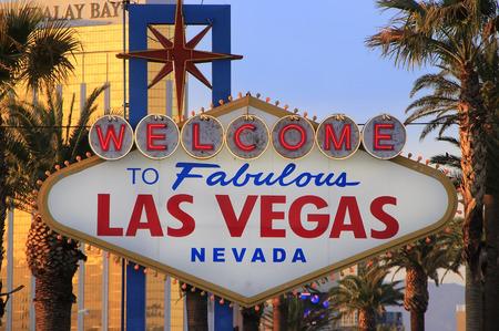 Welkom bij Fabulous Las Vegas teken in de nacht, Nevada, Verenigde Staten