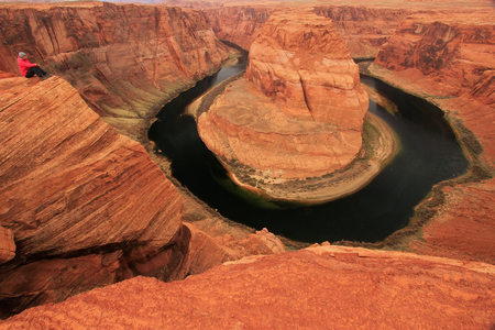 Horseshoe bend seen from overlook, Arizona photo