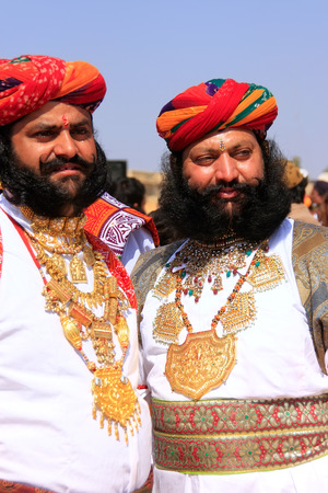 Indian men in traditional dress taking part in Mr Desert competition, Jaisalmer, Rajasthan, India