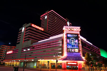 Eldorado hotel and casino at night in Reno, Nevada, USA Reklamní fotografie - 36939419