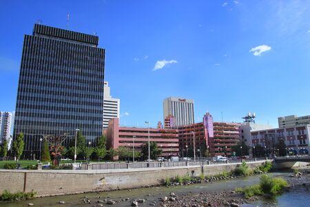 Reno skyline along Truckee river, Nevada, USA