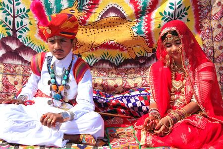 jaisalmer: Indian boy and girl in traditional dress taking part in Desert Festival, Jaisalmer, Rajasthan, India