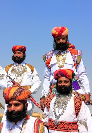 jaisalmer: Indian men in traditional dress taking part in Mr Desert competition, Jaisalmer, Rajasthan, India Editorial
