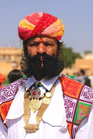 mr: Portrait of indian man taking part in Mr Desert competition, Jaisalmer, Rajasthan, India