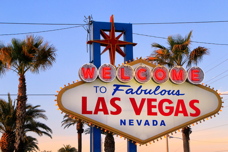 las vegas sign: Welcome to Fabulous Las Vegas sign at night, Nevada, USA