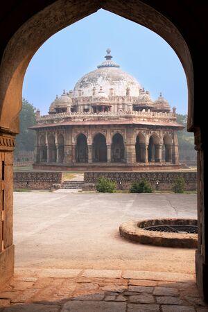khan: Isa Khan Niyazi tomb seen through arch, Humayun Editorial