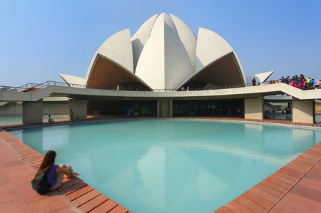 subcontinent: Lotus temple in New Delhi, India. it serves as the Mother Temple of the Indian subcontinent and has become a prominent attraction in the city. Stock Photo