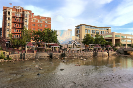 Reno skyline along Truckee river, Nevada, USA