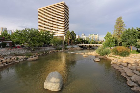 Truckee river in downtown Reno, Nevada, USA photo