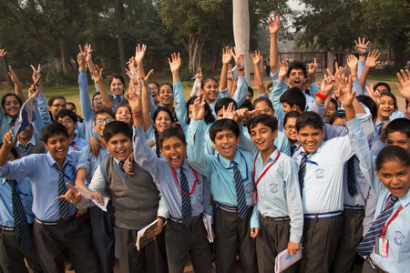 Schoolkinderen bezoeken van Humayun
