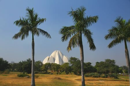 new delhi: Lotus temple in New Delhi, India. it serves as the Mother Temple of the Indian subcontinent and has become a prominent attraction in the city. Stock Photo