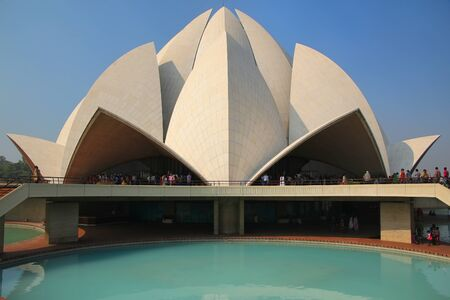 Lotus temple in New Delhi, India. it serves as the Mother Temple of the Indian subcontinent and has become a prominent attraction in the city. photo