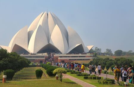 lotus temple: Lotus temple with a line of pilgrims, New Delhi, India. it serves as the Mother Temple of the Indian subcontinent and has become a prominent attraction in the city.