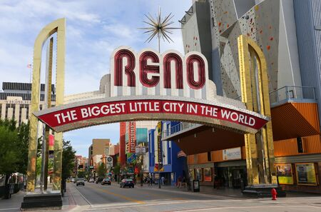 nevada: Famous The Biggest Little City in the World sign  over Virginia street in Reno, Nevada, USA