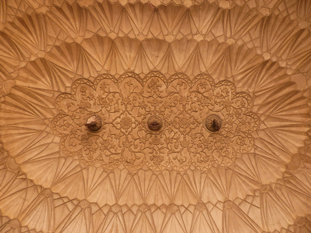new delhi: Closeup of the ceiling, Safdarjung Tomb, New Delhi, India. Tomb was built in 1754 in the late Mughal Empire style.
