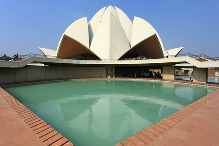 subcontinent: Lotus temple in New Delhi, India. it serves as the Mother Temple of the Indian subcontinent and has become a prominent attraction in the city. Editorial