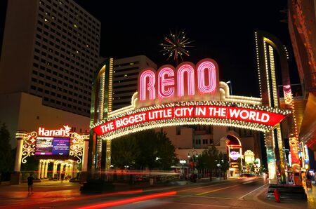 Famous \\\The Biggest Little City in the World\\\ sign at night in Reno, Nevada, USA