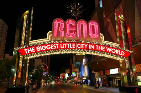 nevada: Famous \\\The Biggest Little City in the World\\\ sign at night in Reno, Nevada, USA