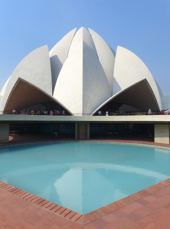 lotus temple: Lotus temple in New Delhi, India. it serves as the Mother Temple of the Indian subcontinent and has become a prominent attraction in the city. Stock Photo