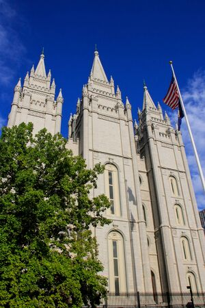 lds: Temple of The Church of Jesus Christ of Latter-day Saints in Salt Lake City, Utah. Salt Lake City is the capital and the most populous city in Utah Stock Photo