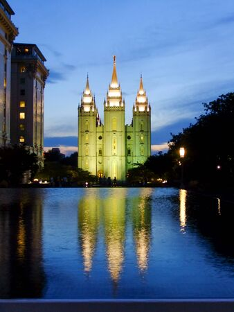 lds: Temple of The Church of Jesus Christ of Latter-day Saints reflected in the pool at night, Salt Lake City, Utah. Salt Lake City is the capital and the most populous city in Utah