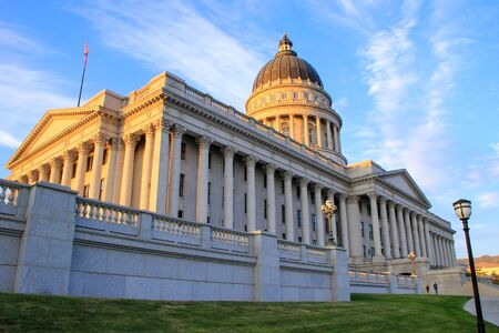 downtown capitol: Utah State Capitol in Salt Lake City in the evening. Salt Lake City is the capital and the most populous city in Utah Stock Photo