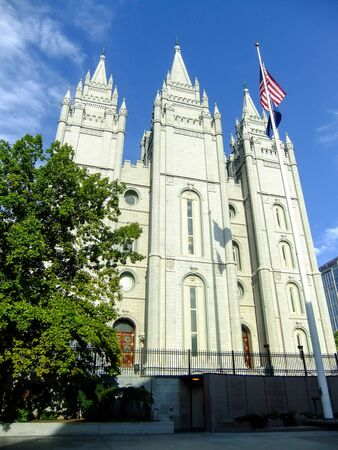 mormon: Temple of The Church of Jesus Christ of Latter-day Saints in Salt Lake City, Utah. Salt Lake City is the capital and the most populous city in Utah Stock Photo