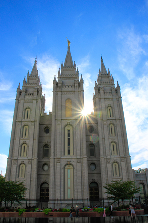 lds: Temple of The Church of Jesus Christ of Latter-day Saints with sunburst, Salt Lake City, Utah. Salt Lake City is the capital and the most populous city in Utah Stock Photo