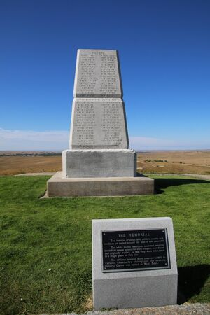 U.S. Army Memorial on Last Stand Hill at Little Bighorn Battlefield National Monument, Montana, USA. It preserves the site of the June 25 and 26, 1876, Battle of the Little Bighorn.