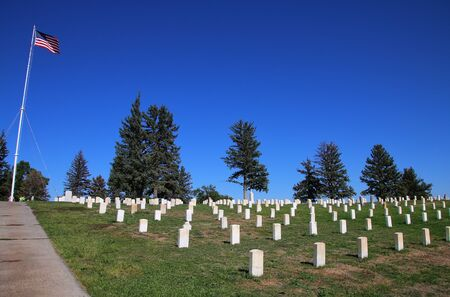 Custer National Cemetery at Little Bighorn Battlefield National Monument, Montana, USA. It preserves the site of the June 25 and 26, 1876, Battle of the Little Bighorn. Sajtókép