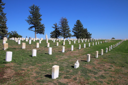 cheyenne: Custer National Cemetery at Little Bighorn Battlefield National Monument, Montana, USA. It preserves the site of the June 25 and 26, 1876, Battle of the Little Bighorn. Editorial
