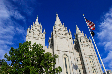 latter: Temple of The Church of Jesus Christ of Latter-day Saints in Salt Lake City, Utah. Salt Lake City is the capital and the most populous city in Utah Editorial