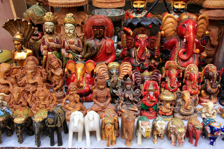 jaisalmer: Display of colorful statues at a souvenir shop in Jaisalmer fort, Rajasthan, India