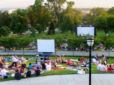 People getting ready to watch movie at capitol Hill in Salt Lake City, Utah. Salt Lake City is the capital and the most populous city in Utah